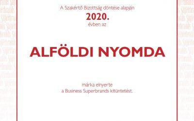 Az Alföldi Nyomda elnyerte a Business Superbrands díjat